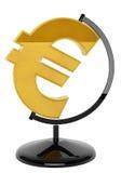 Guld- eurosymbol som jordklotet Royaltyfri Bild