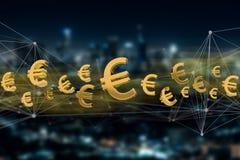 guld- eurosymbol som visas på en stadsbakgrund - tolkning 3D Arkivbild