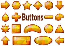 Guld- exponeringsglasknappuppsättning stock illustrationer