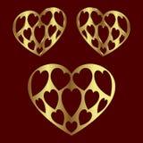Guld- färg för hjärta stock illustrationer