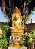 Guld--färgad buddha staty utanför templet Arkivfoton