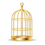 Guld- fågelbur Fotografering för Bildbyråer