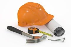 guld för begreppskonstruktionsfingrar houses tangenter Hård hatt med ritningen och hjälpmedel stock illustrationer