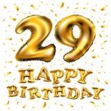 Guld för beröm för den lyckliga födelsedagen för vektorn sväller 29., och guld- konfetti blänker design för illustration 3d för d Royaltyfri Fotografi
