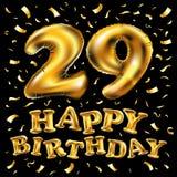 Guld för beröm för den lyckliga födelsedagen för vektorn sväller 29., och guld- konfetti blänker design för illustration 3d för d Royaltyfria Foton