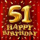 Guld för beröm för den lyckliga födelsedagen för vektorn sväller 51., och guld- konfetti blänker design för illustration 3d för d Royaltyfri Bild