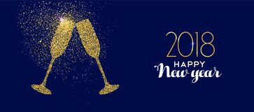 Guld 2018 för det lyckliga nya året blänker glass rostat bröd Fotografering för Bildbyråer
