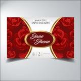 Guld för elegant blomma för inbjudanblick röd Royaltyfri Fotografi