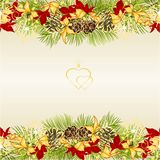 Guld- för garnering för gränsjul och för nytt år sörjer festlig och röd sidajulstjärna tre och granträdfilialen kottar och guld- stock illustrationer