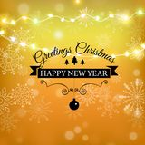 Guld för glad jul blänker bokstäverdesign Julhälsningkort, affisch, baner Guld- blänka snö vektor illustrationer
