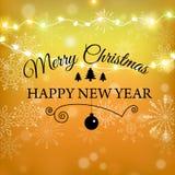 Guld för glad jul blänker bokstäverdesign Julhälsningkort, affisch, baner Guld- blänka snö stock illustrationer