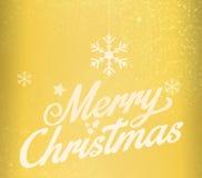 Guld för glad jul som blänker bokstäverdesign Arkivfoton