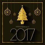 Guld för kort för lyckligt nytt år 2017 svart Fotografering för Bildbyråer