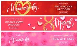 Guld för kvinnadagförsäljningen blänker mars för hjärtarengöringsdukbanret 8 vektor illustrationer