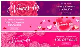 Guld för kvinnadagförsäljningen blänker mars för hjärtarengöringsdukbanret 8 royaltyfri illustrationer