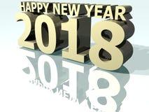 Guld 2018 för lyckligt nytt år 3 Vektor Illustrationer