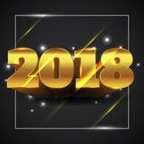 Guld 2018 för lyckligt nytt år med isolerad svart bakgrund - vektorillustration royaltyfri illustrationer