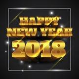 Guld 2018 för lyckligt nytt år med svart bakgrund - vektorillustration vektor illustrationer