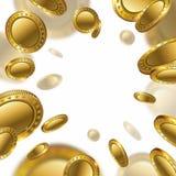 Guld- förmögenhet realistisk 3d tömmer mynt som flyger på vit bakgrund Royaltyfri Fotografi