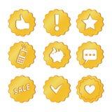 Guld- försäljningssymbol, bästa val, samling för rengöringsdukdesign stock illustrationer