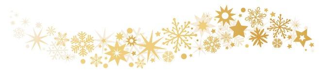 Guld- fallande stjärnor för baner stock illustrationer
