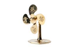 Guld- fan som isoleras på vit bakgrund Royaltyfri Fotografi