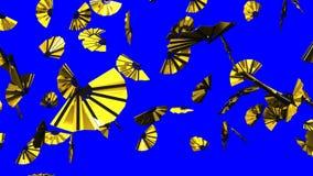 Guld- fans på blå Chromatangent lager videofilmer