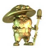 Guld- felik gnom som champinjon-formas med en pinne Arkivfoton