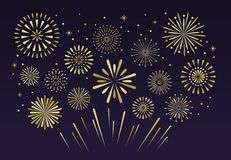 Guld- festliga fyrverkerier Vecto för julpyroteknikfirecracker stock illustrationer