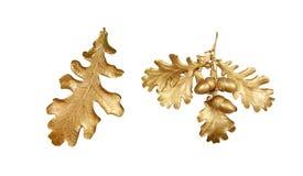 Guld- filial av eken DEKORATIVA HÖSTSIDOR festlig garnering arkivfoto