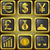 Guld- finansknappar Fotografering för Bildbyråer