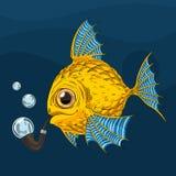 Guld- fisk för tecknad film Arkivbild