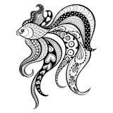 Guld- fisk för Zentangle vektor för tatuering i bohoen, hipsterstil eller