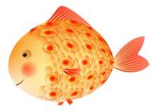 Guld- fisk med en modell på vågen barnillustration s Royaltyfria Bilder