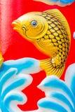 Guld- fisk på den kinesiska templet Royaltyfri Bild