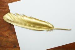Guld- fjäderpenna royaltyfri fotografi