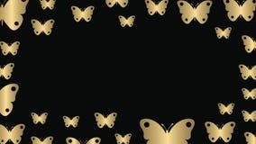 Guld- fjärilar och tomt utrymme stock video