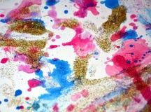 Guld- fläckar för målarfärg för regnbågevitguling, pastellfärgade toner Royaltyfria Bilder