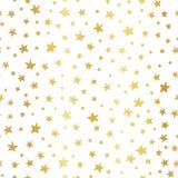 Guld- folie för sömlösa stjärnor för vektorbakgrund Handdrawn Modell för jul och berömmar Hand drog guld- stjärnor på vit stock illustrationer