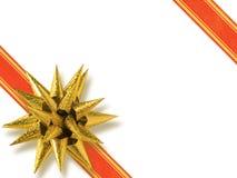 guld- formad stjärna för bow royaltyfria foton