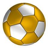 Guld- fotbollboll med silverprickar som isoleras på vit bakgrund Arkivbild