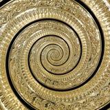 Guld- fractal för modell för bakgrund för metallabstrakt begreppspiral Dekorativ prydnadbeståndsdel Guld- metallisk dekorativ pry Royaltyfri Bild