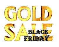 Guld- försäljningssvart fredag för guld- text på vit bakgrund Royaltyfri Fotografi
