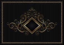 Guld- fyrkantig ram med calligraphic design och stjärnan Arkivbild