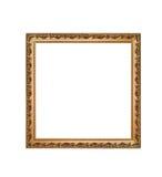 Guld- fyrkantig ram som isoleras på en vit bakgrund royaltyfri fotografi