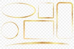 Guld- fyrkantig rektangel som är oval, och cirkelfärgpennaram, på genomskinlig effektbakgrund vektor illustrationer