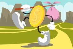 guld- gå för mynt Arkivfoto