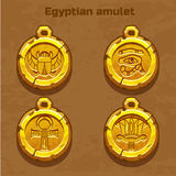 Guld- gammal egyptisk amulett Royaltyfria Foton