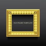 Guld- gammal klassisk ram med ionics på mörk bakgrund Royaltyfri Foto