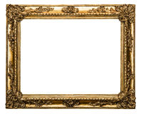 Guld- gammal ram som isoleras på white Arkivbilder